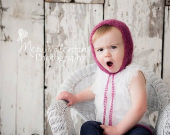 Crochet newborn - 2T  Toddler baby mohair lace bonnet - Custom Made to order -