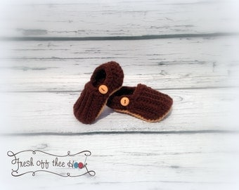 Crochet Baby boy or girl button loafer slippers sizes 0-6mo & 6-12 mo - Custom made to order