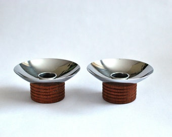 Chase Chrome and Wood Candle holders / MCM  / Modern / Signed
