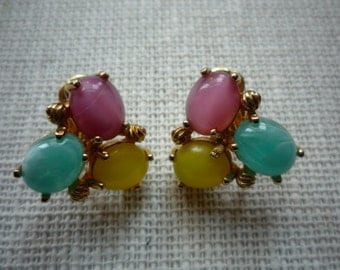 Vintage Richelieu Tri Colored Glass Cabochons Gold Tone Clip On Earrings