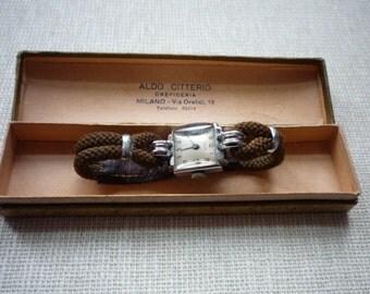 Vintage Suizo Chrome Ladies Wrist Watch Original Box
