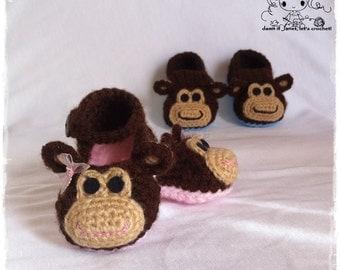 Monkey Baby Booties (newborn - 12 months) - PDF Crochet Pattern - Instant Download
