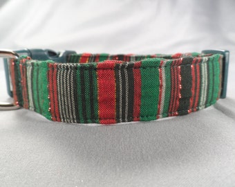 Christmas Dog Collar, Holiday Stripes Green