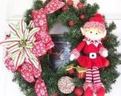 Elf Wreath, Christmas wreath, holiday wreath, whimsical wreath, Christmas gift