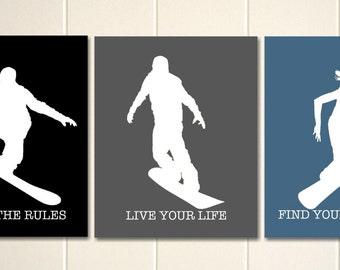 Boys wall art, snowboard art, snowboarder, snowboarding, sports art, boys room art, set of 3