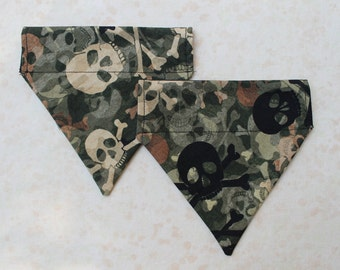 Pet Bandana with Camouflage skulls in a Size X-Small