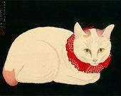 Japanese art, cat paintings, Tama, the Cat FINE ART PRINT, japanese cats art prints, posters, animal paintings, woodblock prints, home decor