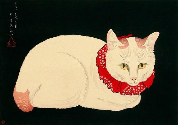 Arte giapponese Tama il gatto stampa d'arte stampe di ArtPink