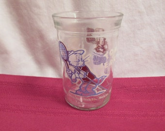TOM AND JERRY Tennis Welch's Jelly Jar Glass Tumbler 1991