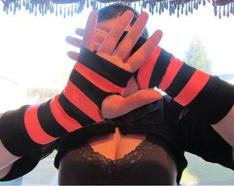 Orange & Black Striped Fingerless Gloves