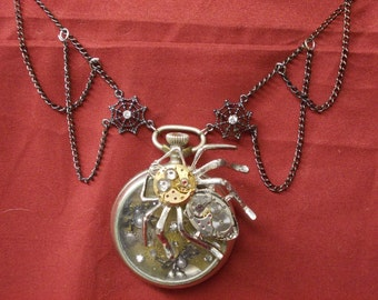 The Spider's Web: Upcycled Steampunk Necklace with Mechanical Spider and Baby Spiders