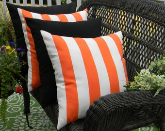 "SET OF 4 PIllow Covers- 17"" Indoor / Outdoor Pillow Covers - 2 Orange and White Stripe & 2 Solid Black"