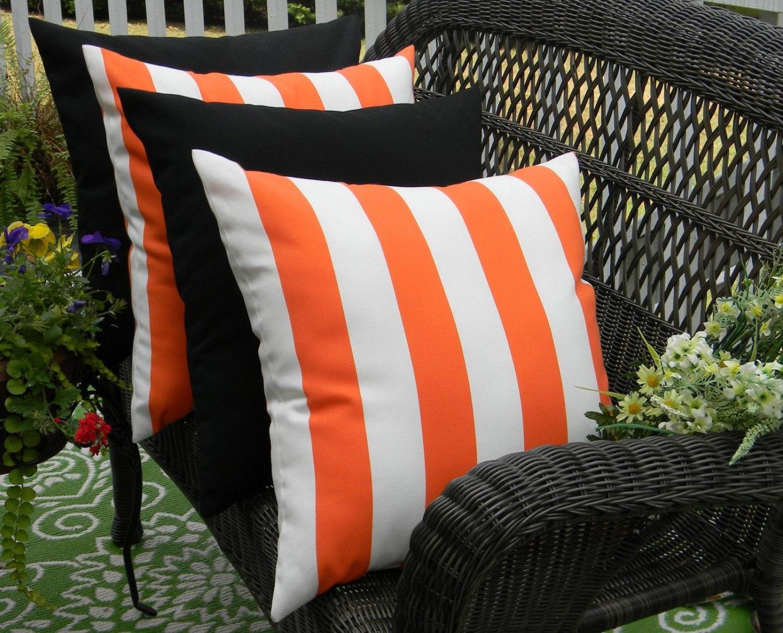 Set Of 4 20 Indoor Outdoor Throw Pillows 2 Orange