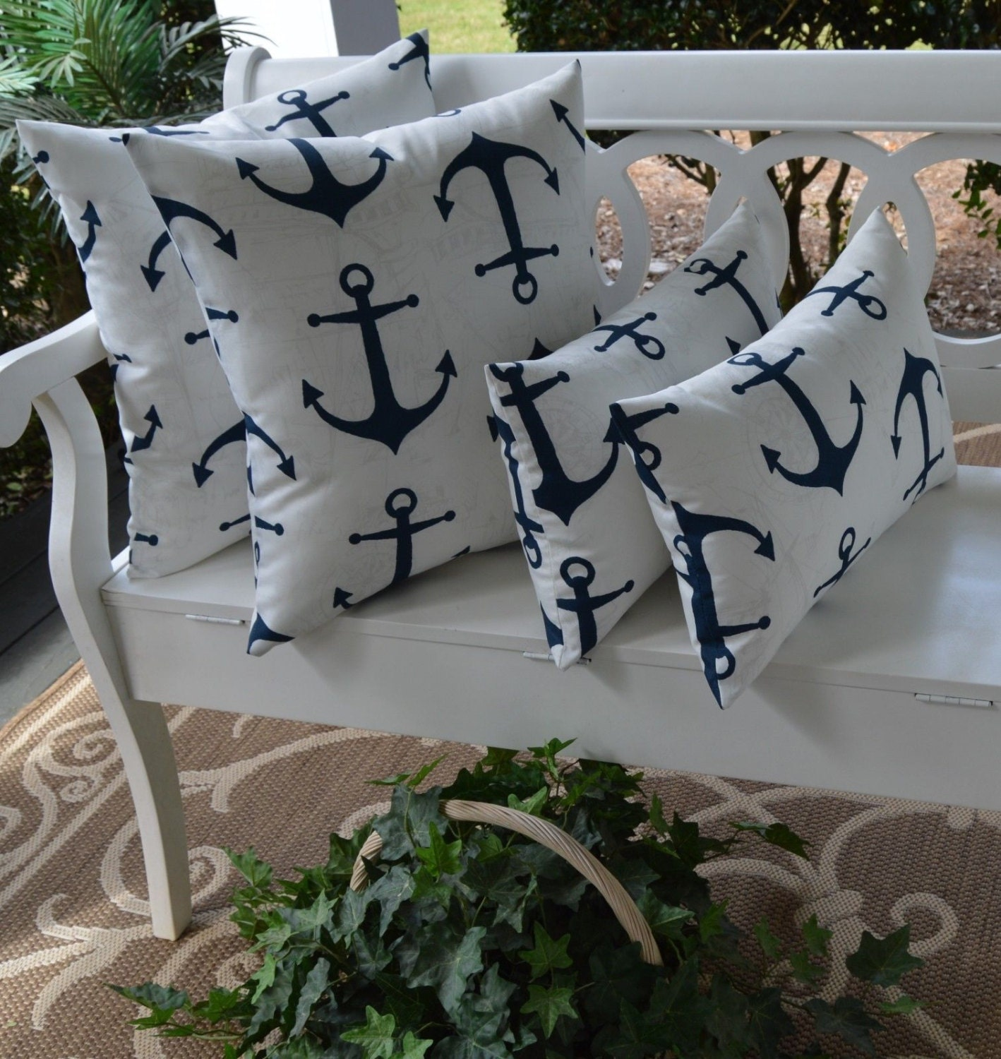 Set Of 4 Indoor Outdoor Throw Pillows Navy Blue Nautical