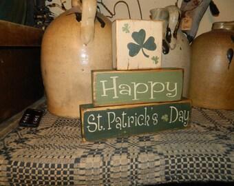 HAPPY St. PATRICK'S DAY primitive Block sign