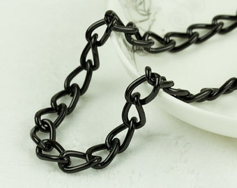 10ft  Anodized Aluminum Black Silver Twisted Cable Chain, Cable Chains, 14.8x8.9mm, 0516.BK