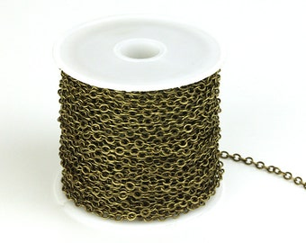 30ft Spool of Antique Brass Oval Flat Chain, 2.6x3.4mm Brass Chain, Antique Bronze Chain, CB011.AB
