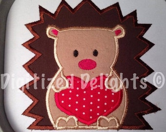 Hedgehog with Heart Applique Embroidery Design Instant Download ITH