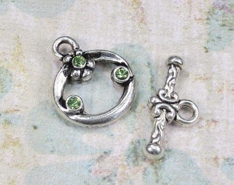 Silver Plate Toggle Clasp, with Spring Green Swarovski Crystal, 1 Clasp - Item 1339