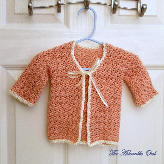 CROCHET PATTERN - Instant Download - Baby Girl Cardigan Sweater with Trim and Ribbon Tie, Size 6-12 Months