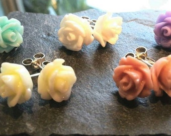 Vintage rose earrings with sterling silver posts