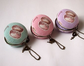 6cm, Macaron Jewelry Pouch/ Macaroon/ Coin Purse - Macaron/Macaroon, Green/Pink/Purple -  Handmade in Japan by Chikaberry