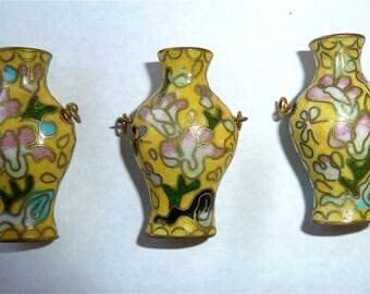 Vintage Yellow Cloisonne Vase Figurines