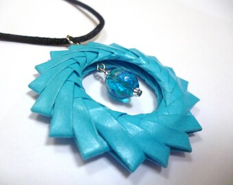 Dusk Blue Origami Ring Necklace - Paper Necklace