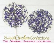 Dark Purple and Silver Lollipops, Halloween Wedding Favors, Halloween Lollipops, Sweet Caroline Confections, Set of Six Lollipops