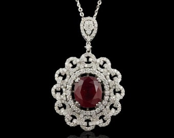 Vintage 14k White Gold Ruby and Diamond Ladies Pendant and Chain
