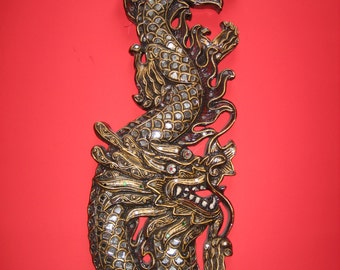 Intricately Carved and Decorated Thai Wooden Dragon