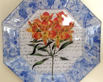 SALE**Reverse Decoupage Glass Octagonal Plate with Vintage Ephemera & Botanical Print