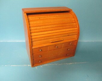 Vintage roll top kitchen recipe wooden box used good condition