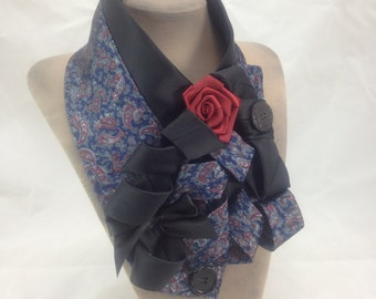 Red flower necklace, Neck corsage, Victorian shawl , Blue print scarf