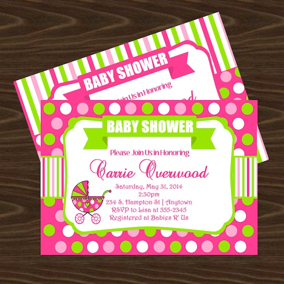 pink and green polka dots baby shower invitation thank you, Baby shower invitations
