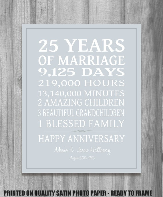 Wedding Anniversary Gift For Parents Online India : SILVER 25th Anniversary Gift Personalized Our Life Story Stats ...