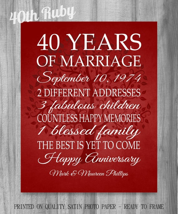Wedding Anniversary Gifts For Parents 40 Years: 40th Anniversary Gift 40 Years Red By PrintsbyChristine On