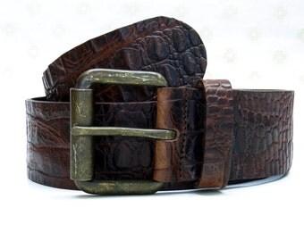 Leather belt denim fullgrain vintage washed old brass roller buckle cow leather kroko embossing tooled leather durable leather belt