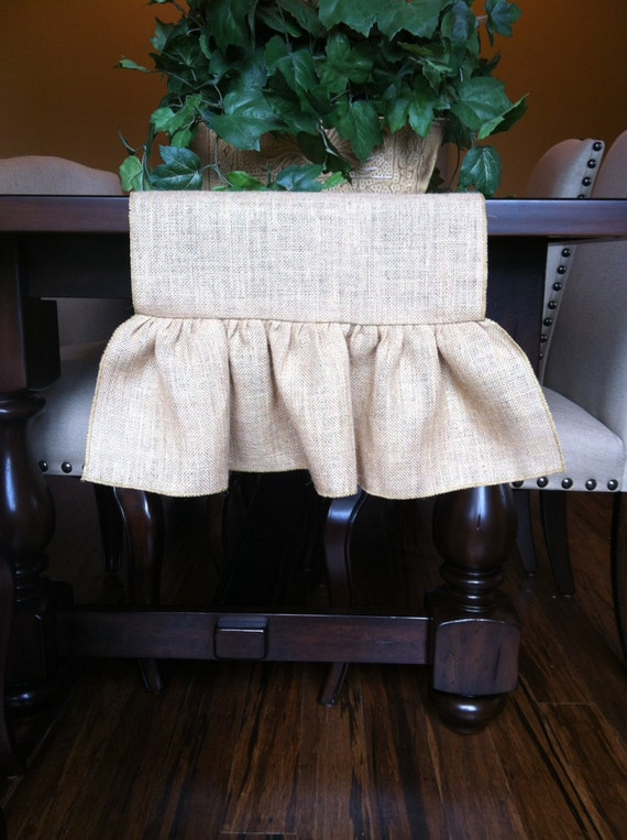 Table  Runner, Table Custom Burlap length Runner, Length custom runner Ruffled table Runner