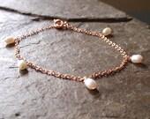 Rose gold bracelet with freshwater pearls, rose gold filled bracelet, lovely bridesmaid gift from UK