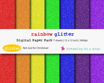 SALE Glitter Digital Scrapbook Paper, Glitter Scrapbook, Rainbow Glitter, Glitter Paper, Red Scrapbook, Blue Scrapbook, Commercial Use
