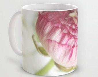Mug - Vintage Ranunculus 1  - Pink White Flower Blossom Romantic Kitchen 11oz 15oz ceramic