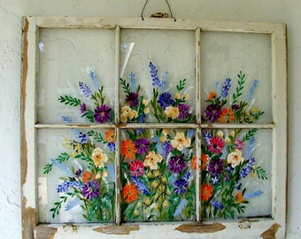 Will custom paint for you painted old windows samples - Vintage wall painting ideas ...