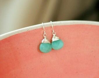 Mint Jade Drop Earrings Sterling Silver Aqua jewelry