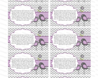 Insert girl baby shower invitation bring a book instead of a card (142bt) - Instant Download