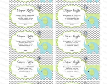 Elephant Baby Shower invitation Diaper Raffle insert Baby Shower Games baby shower diaper raffle ticket (90bdr)