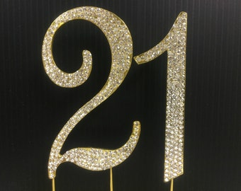 Rhinestone Gold  NUMBER (21) Cake Topper 21  Birthday Parties FREE SHIPPING