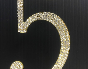 Rhinestone Gold  NUMBER (5) Cake Topper 5th Birthday Parties FREE SHIPPING
