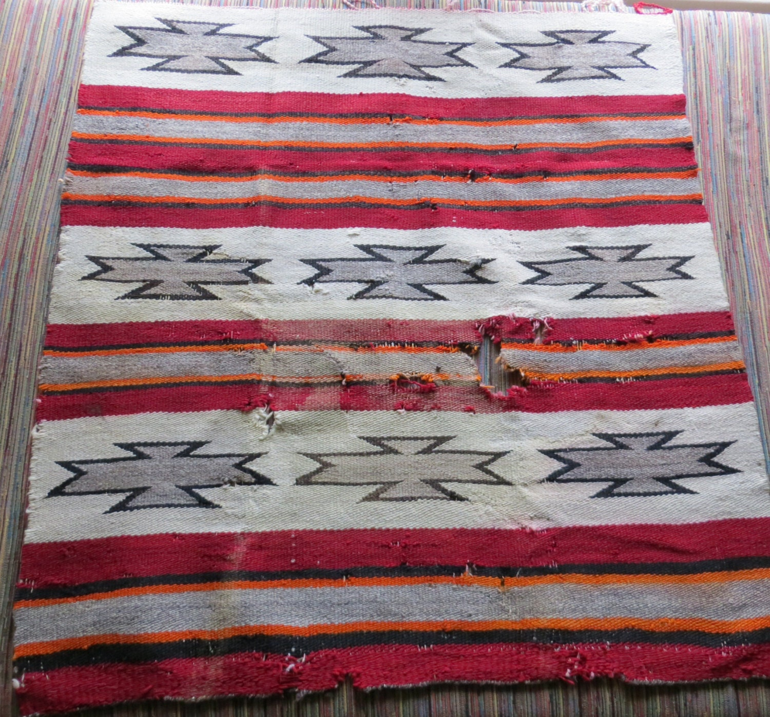 Early Antique Native American Indian Navajo Rug Or