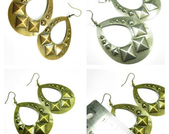 70% discount/Fashion earrings drop shape with 3 D design   antique  cooper, antique silver and bronze,  .cheap/discount/big sale/ affordable